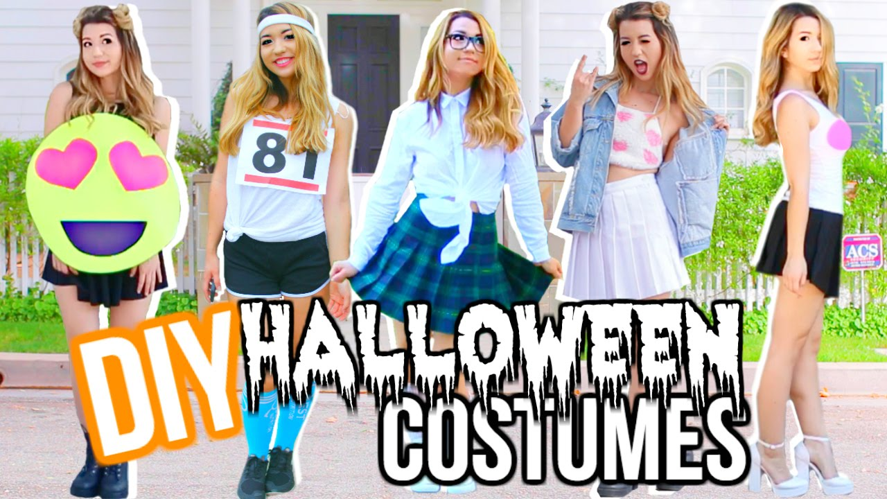 diy last minute halloween costumes youtube - 5 Girl Halloween Costumes