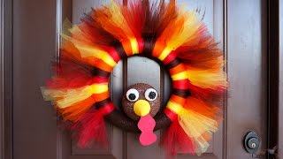 DIY Thanksgiving Turkey Tulle Wreath - Makes a Great Thanksgiving Wreath for your door