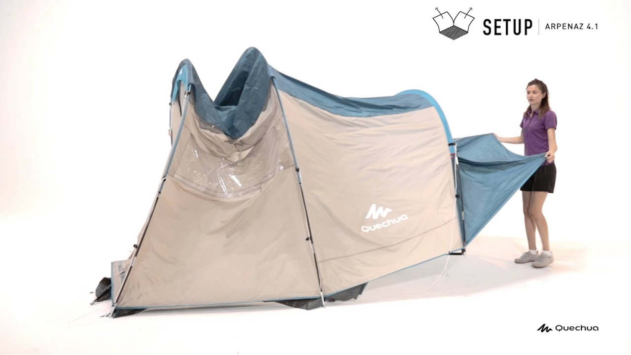 1 Persoons Pop Up Tent Quechua Arpenaz Family 4 1 Setup