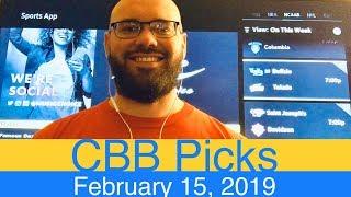 CBB Picks (2-15-19) | College Basketball NCAAB Expert Predictions Video CBK NCAAM | Men's NCAA Vegas