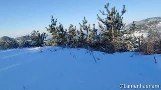 눈이내린 산책로_ 라메르해남 펜션
