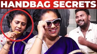 மஞ்சள், குங்குமம் in Lakshmy Ramakrishnan's Handbag | VJ Ashiq Reveals | What's Inside the HANDBAG