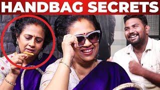 Manjal, Kunkumam in Lakshmy Ramakrishnan's Handbag | VJ Ashiq Reveals | What's Inside the HANDBAG