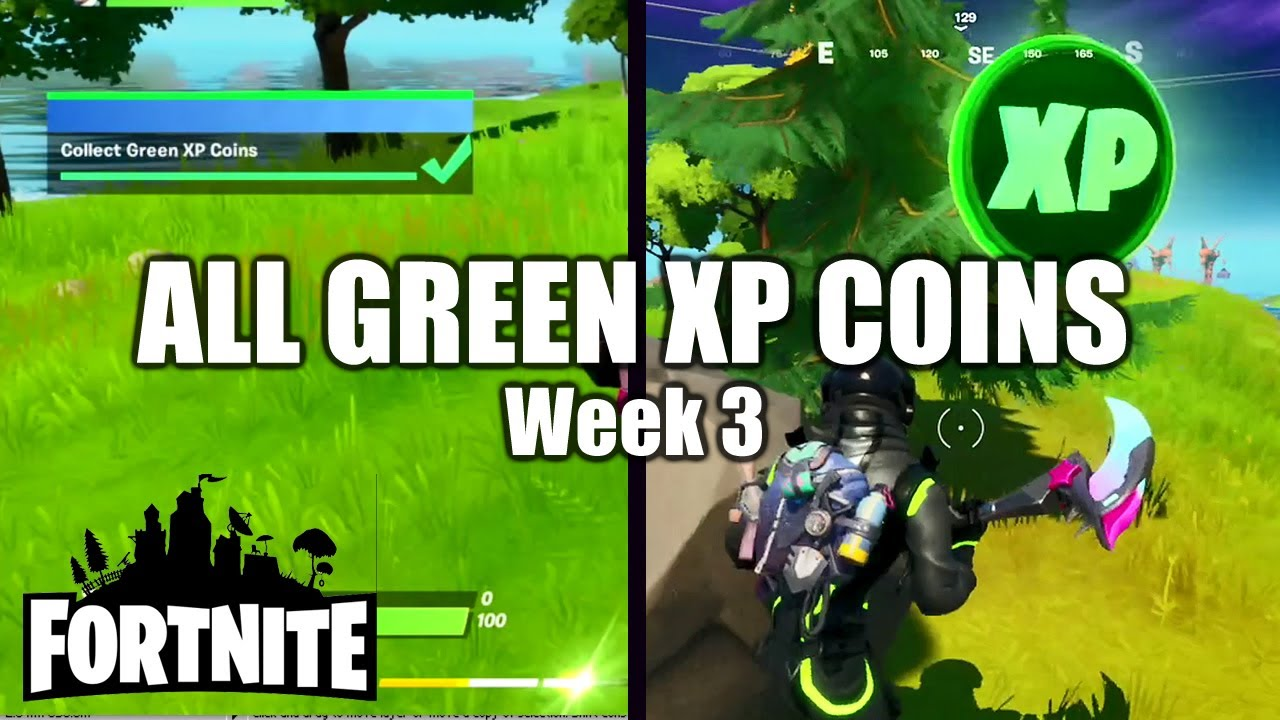 Fortnite ALL GREEN XP Coin Locations - Week 3