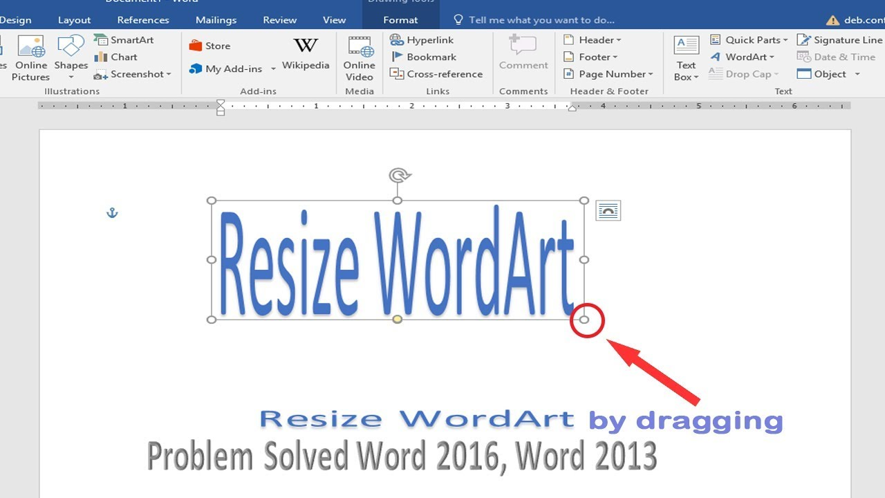 How To Solve Wordart Resize Problem Ms Word 2016 2013 In Hindi Resize Wordart With Dragging D Tech Youtube
