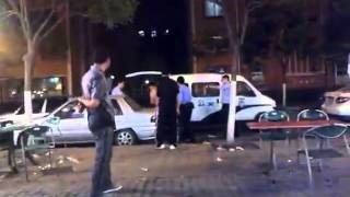 Chinese police officers deal with drunks troublemakers