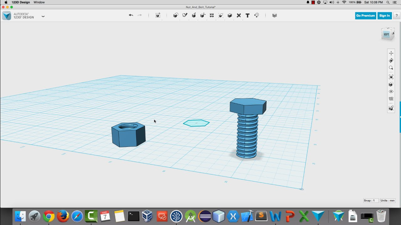 Create A Nut And Bolt In 123D Design For 3D Printing