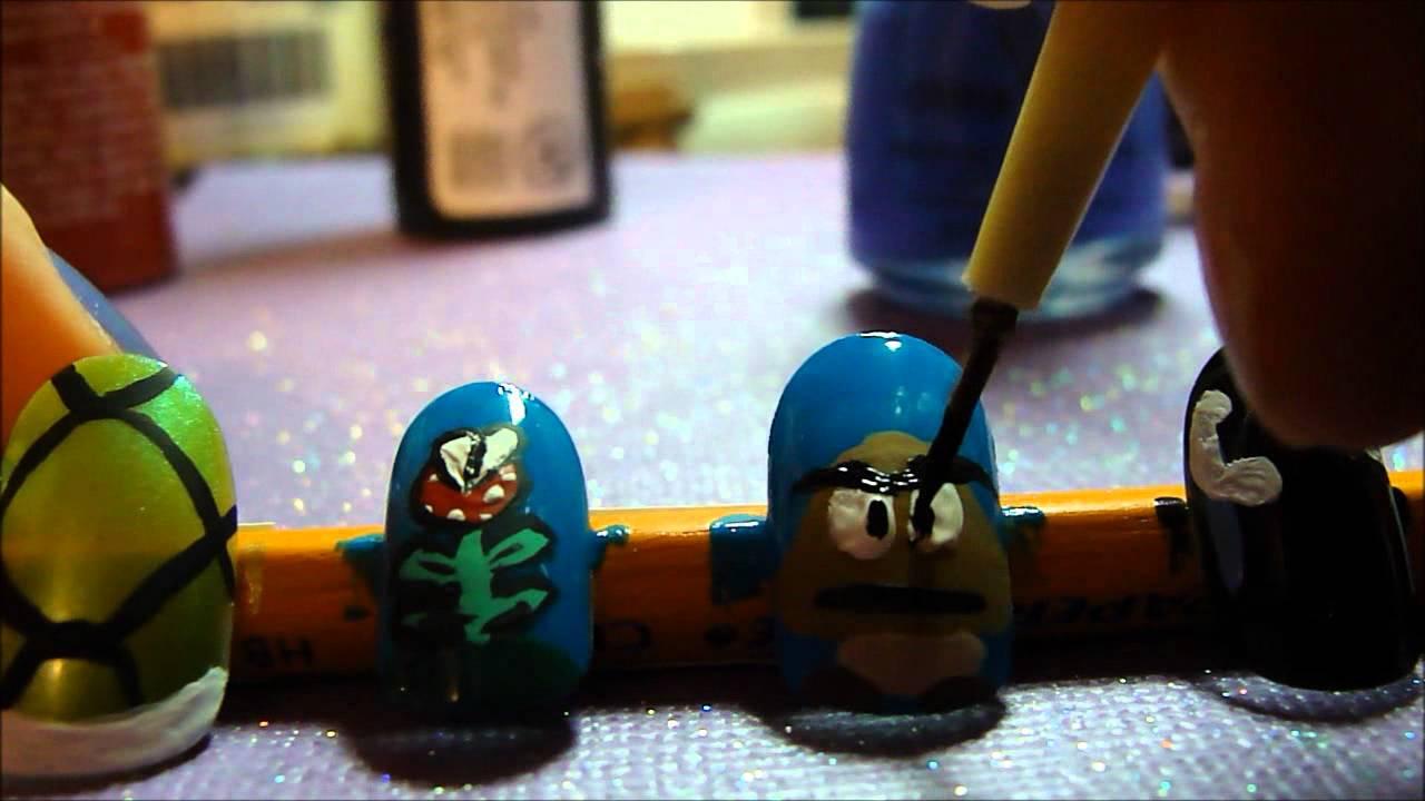 Mario Nail Art: Enemies! - YouTube