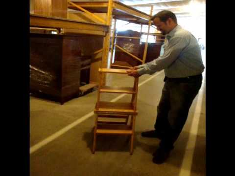 Amish Chairs Amish Solid Wood Library Step Stool Chair Combo - YouTube : wood step stool chair - islam-shia.org