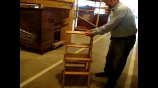 Amish Chairs: Amish Solid Wood Library Step Stool Chair Combo