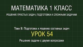 Математика 1 класс. Урок 54. Решение задачи с двумя вопросами (2012)