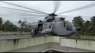 Navy Sea King 42C Lands on House Terrace to Rescue Flood Victims
