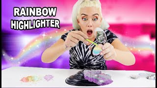 Mixing Makeup Rainbow Highlighter Into Black Glossy Slime!! So Satisfying!!! | Nicole Skyes