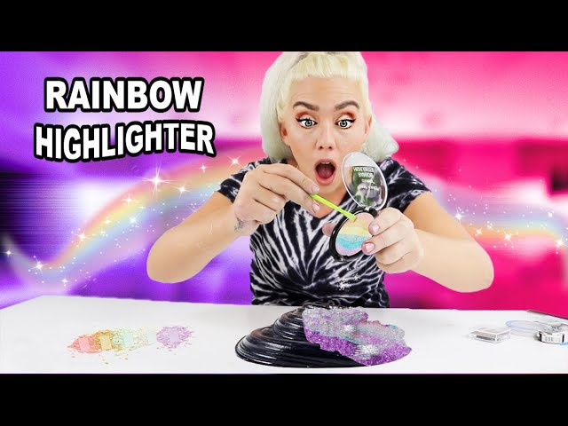 mixing-makeup-rainbow-highlighter-into-black-glossy-slime-so-satisfying-nicole-skyes