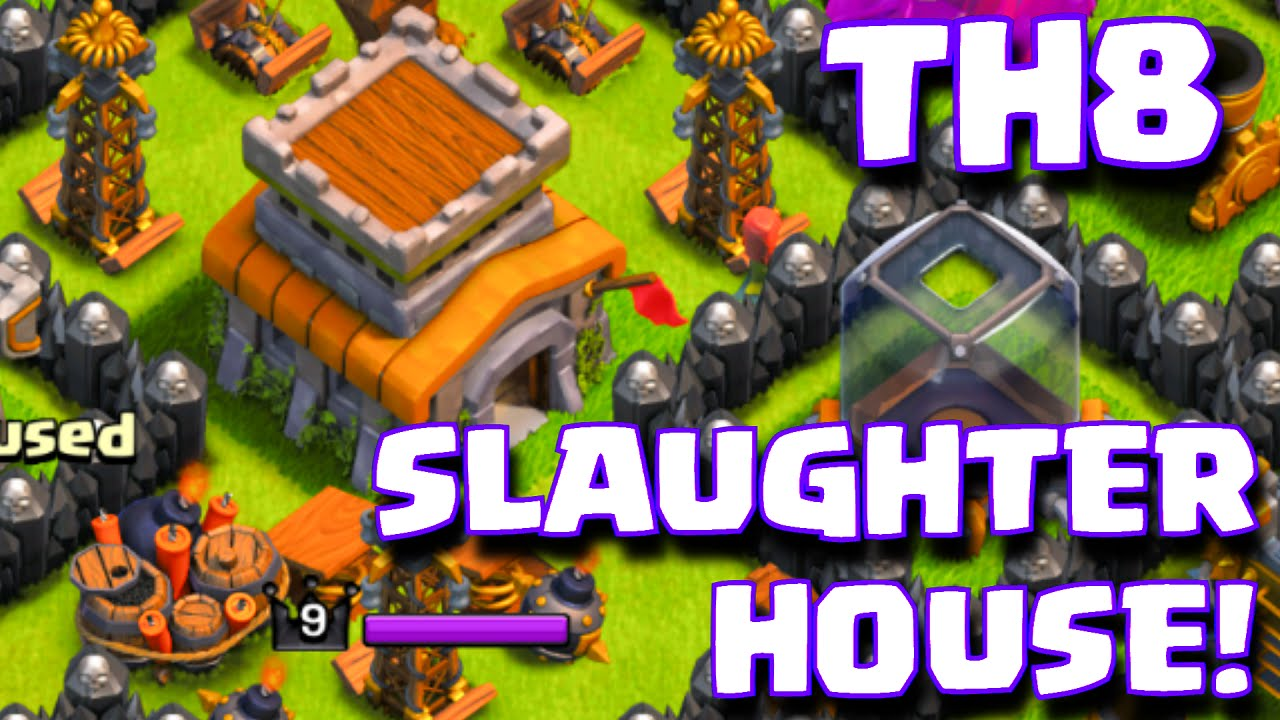 Clash of clans quot the slaughterhouse quot townhall 8 troll base layout th8