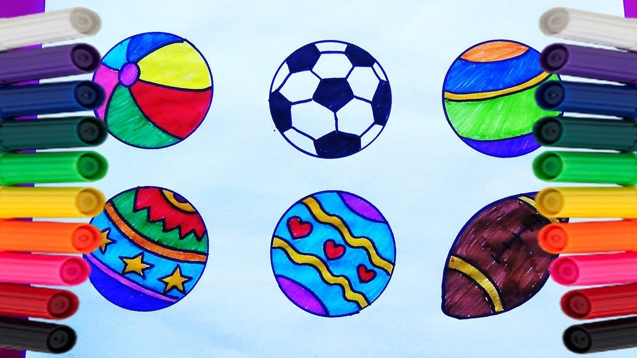 Como Dibujar Y Colorear Pelotas De Colores Dibujos Para Niños Videos Para Niños