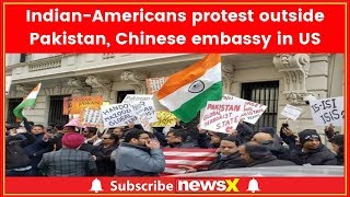 Indian American community stage protest outside Pakistan & Chinese embassy in US