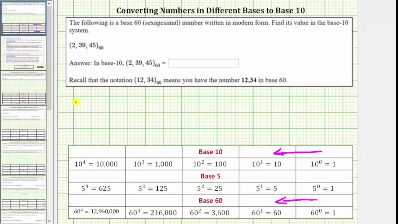 Convert A Base 60 Number To 10