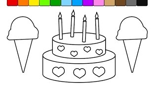 Learn Colors for Kids and Color this Ice cream and Cake Coloring Page  💛💜