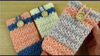 Crochet cell phone case pouch bag Star stitch Easy  Happy Crochet Club