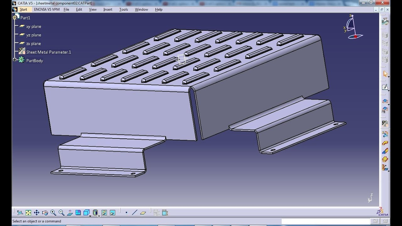 Catia V5 Tutorial Bridge Stamp Sheetmetal Workbench Youtube