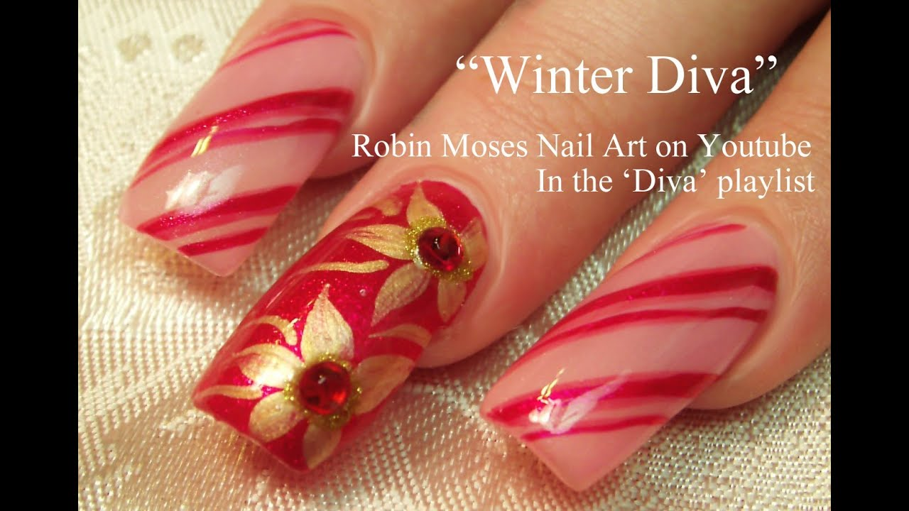 Easy christmas nails diy diva candy stripe nail art with gold easy christmas nails diy diva candy stripe nail art with gold poinsettias youtube prinsesfo Choice Image