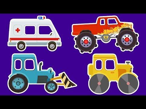 FUN COLOR TRACTOR Transportation - Spiderman Cartoon w Colors Race