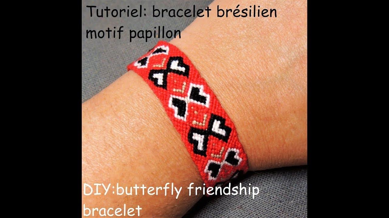 tutoriel: bracelet brésilien motif papillon (DIY: butterfly friendship bracelet) - YouTube