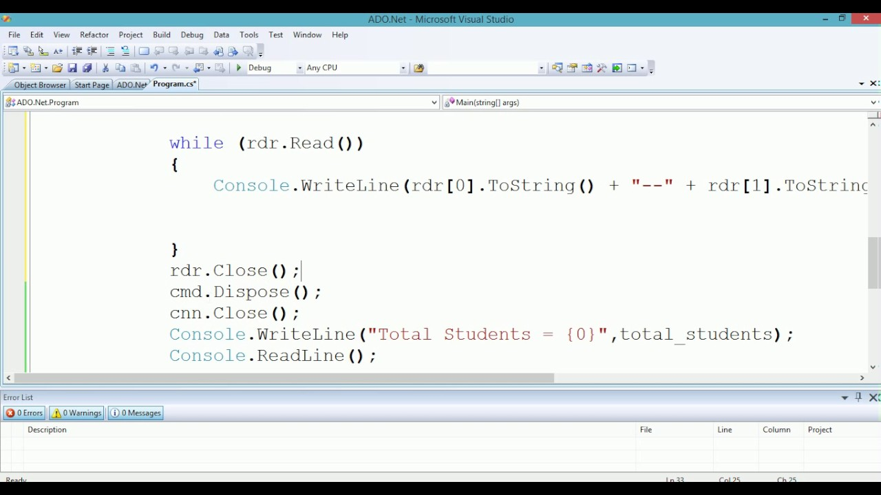 Lesson 04: reading data with the sqldatareader and the.