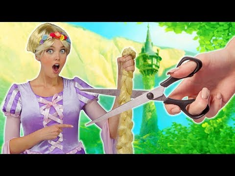 RAPUNZEL'S HAIR CUT AFTER SHE SAVES FLYNN RIDER. (With Elsa, Belle and Cinderella) Totally TV