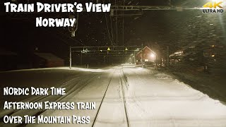 4K CABVIEW: Nordic Dark Time Afternoon Express Train