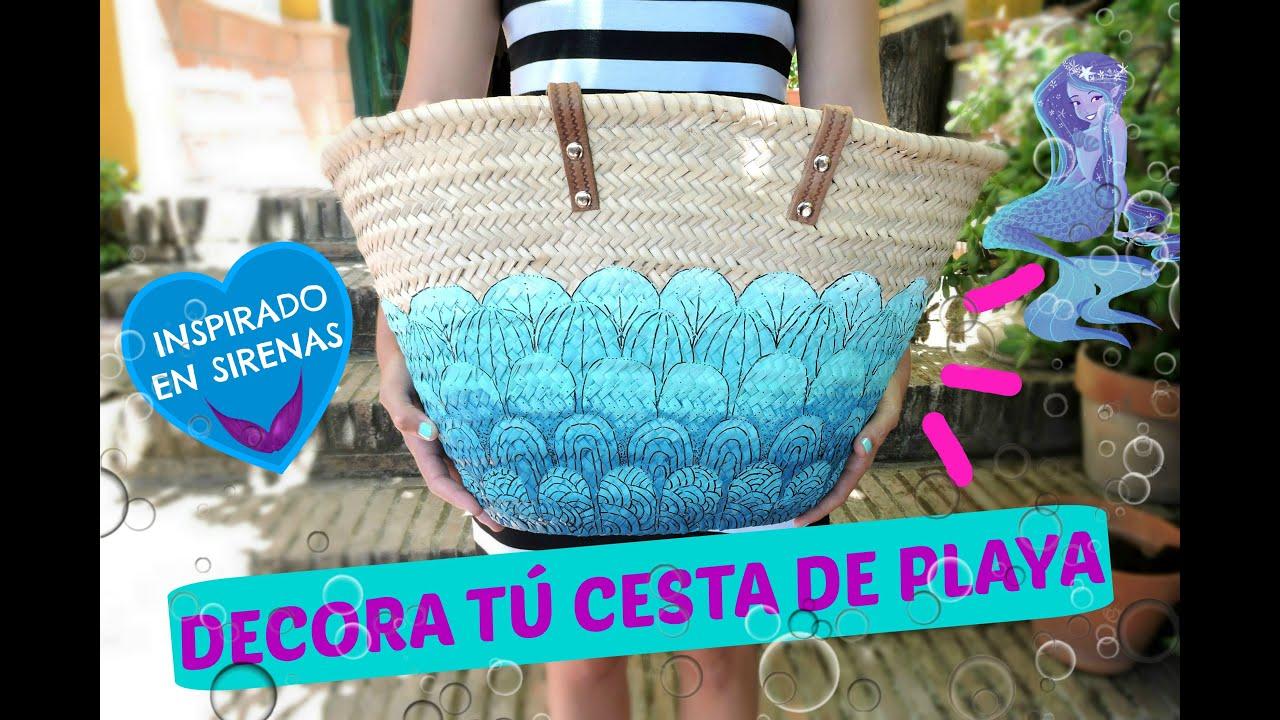 Decora cestas de playa o capazos estilo sirena decore a - Como adornar cestas de mimbre ...