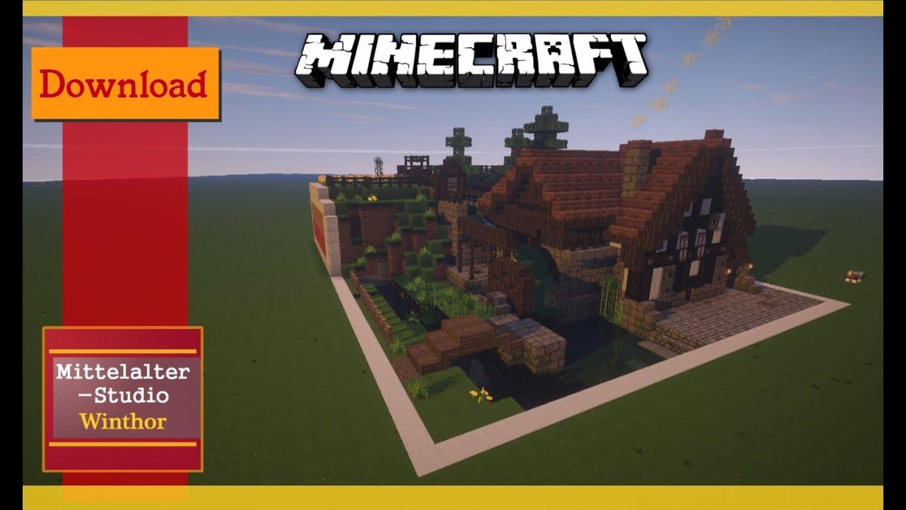 Die Wassermühle Download Minecraft Mittelalter YouTube - Minecraft mittelalter hauser download