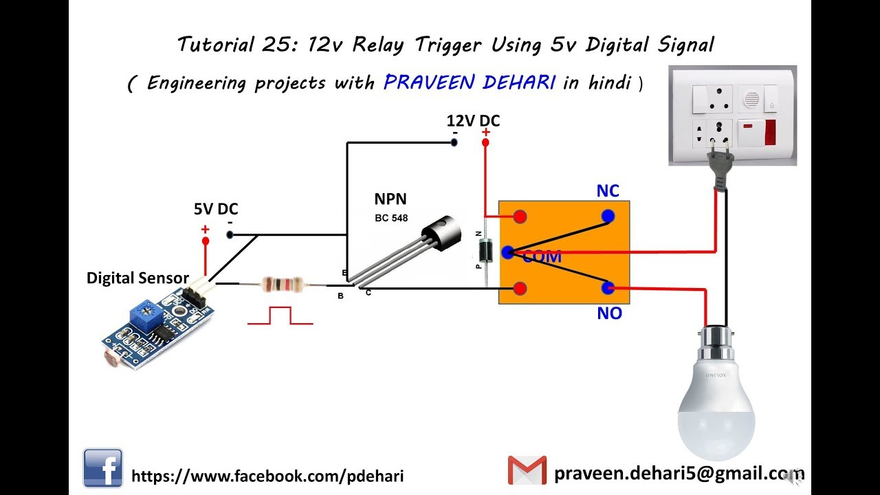 wiring diagram switching 120v with 12v relay trigger using 5v digital signal tutorial 25 youtube12v relay trigger using 5v digital signal [ 1280 x 720 Pixel ]