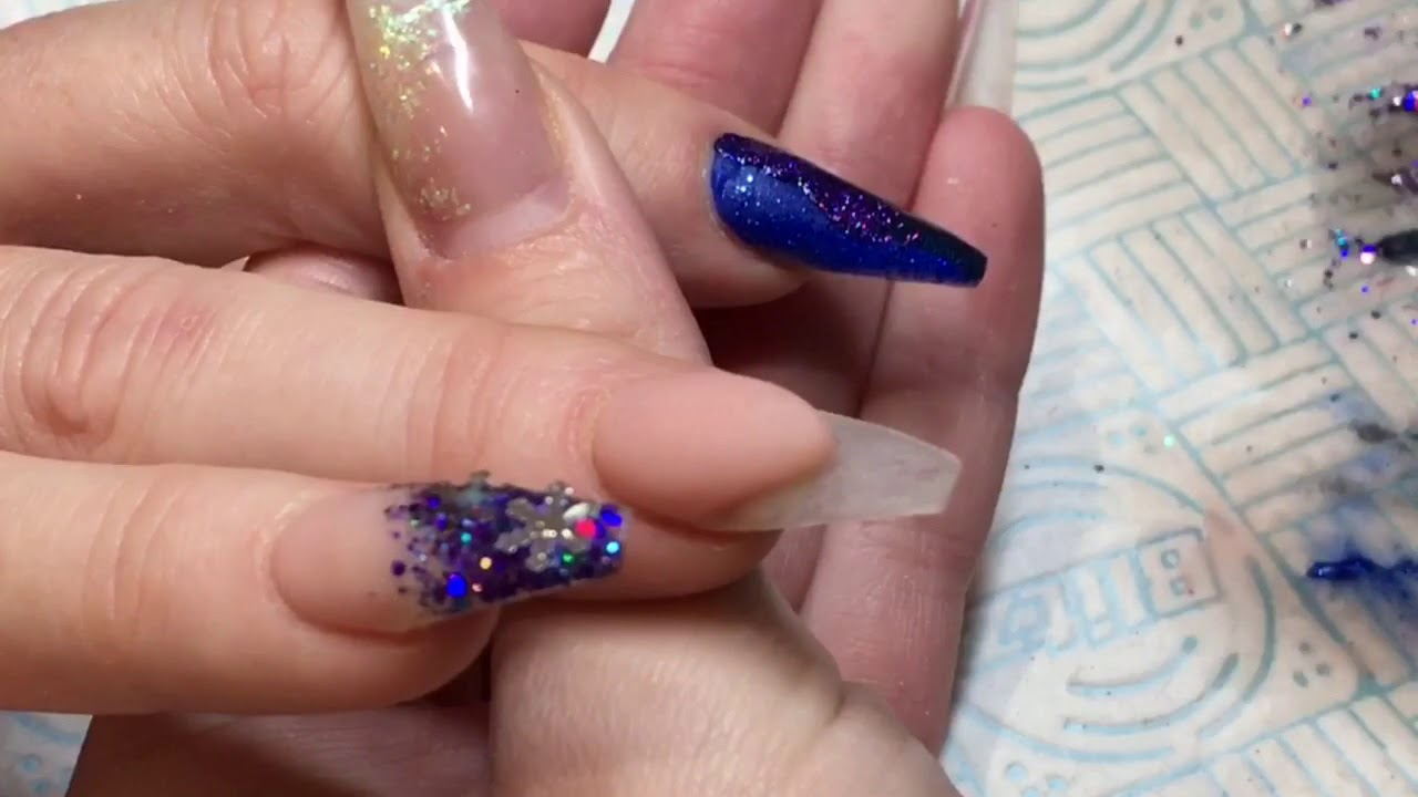 Blue Purple Snowflake Christmas Nails Acrylic Nail Art
