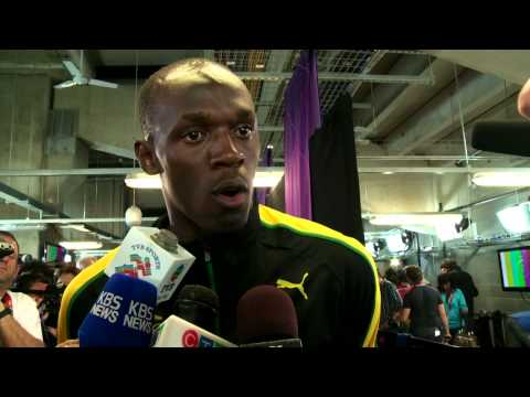 London 2012 – Usain Bolt talks family & sings Marley