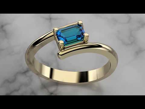 RhinoGold 6.5 - By Pass Ring (Emerald Cut)