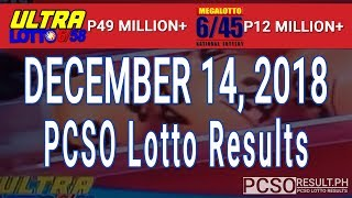 PCSO Lotto Results Today December 14, 2018 (6/58, 6/45, 4D, Swertres, STL & EZ2)