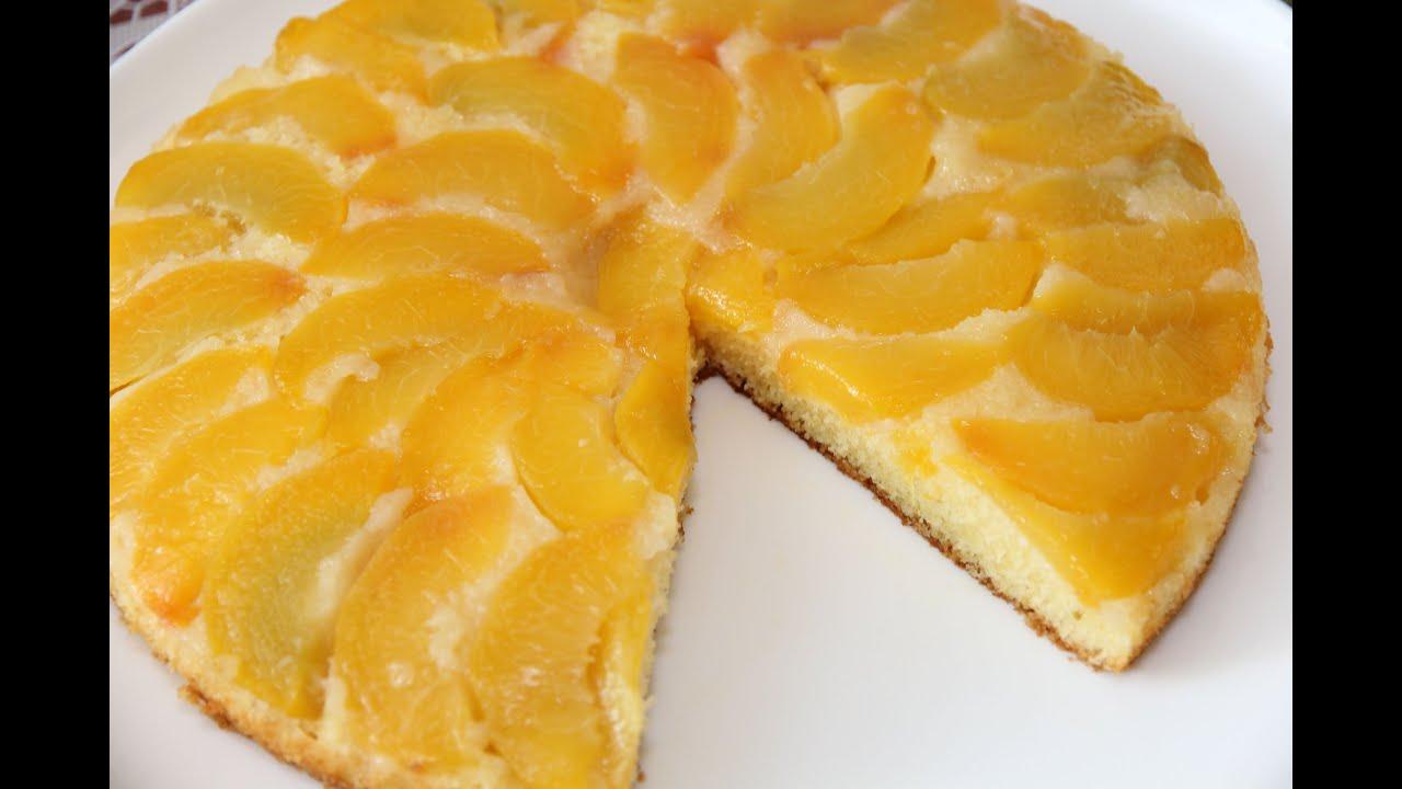 Пирог с персиками простой