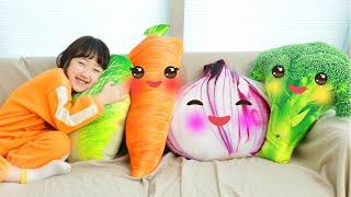 야채를 안먹는다고?! 야채들이 도망가요 편식하면 안돼요! Pretend Play with Vegetable Dolls Hide and Seek 마슈토이Mashu ToysReview