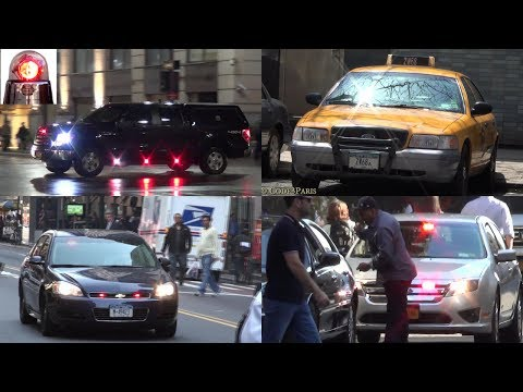 Unmarked Police Cars Responding, NYPD Police Taxi, Federal Law Enforcement, FDNY