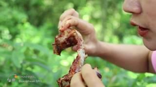 Primitive technology - So yummy roast pork rib recipe for lunch