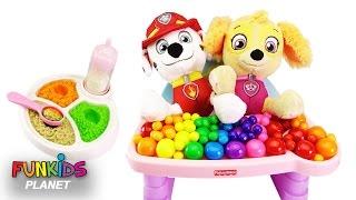 Learn Colors Videos for Kids: Paw Patrol Feeding Baby Skye and Marshall Feeding High Chair Playset