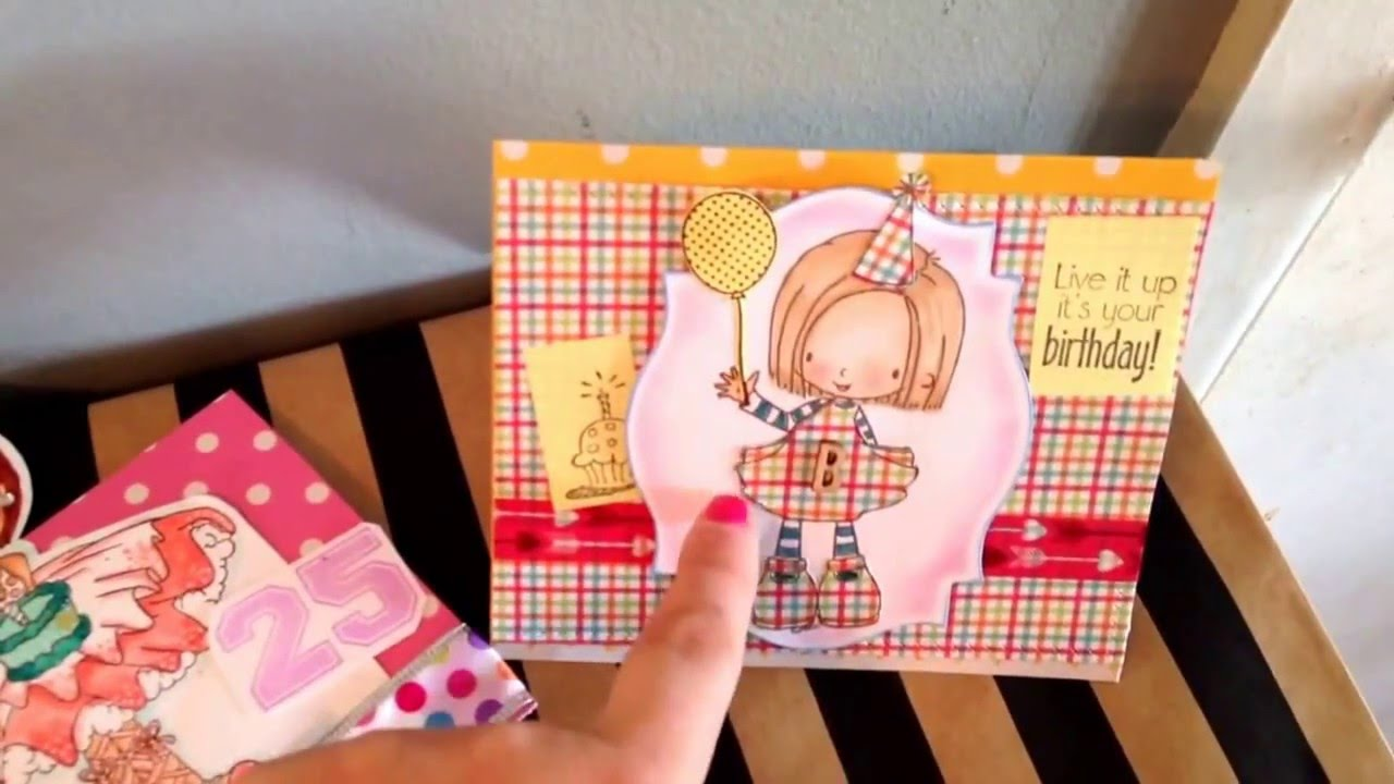 2 Handmade Birthday Cards For My Little Sisters Tiddly Inks And Hsn Stamp Girls