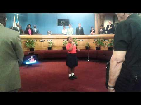 Sheneil (12) singing National Anthem at Miami-Dade County Commisioners
