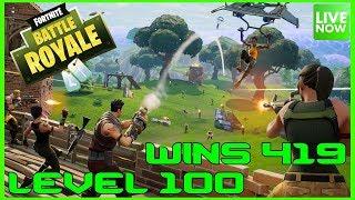 FORTNITE BATTLE ROYALE - LEVEL 100 - 419 WINS - LIVE - (PS4 PRO) Full HD