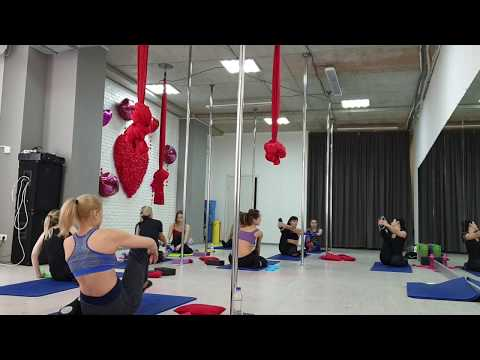 Stretching work out. Pole dance studio Lady Marmalade. Trainer Tanya