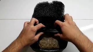 Dış filtrede kedi kumu kullanımı ve sepet dizilimi
