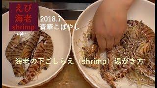 海老の下ごしらえ(shrimp)車海老 湯がき方 ゆでかた・ミシュラン 青華こばやし 和食 Tokyo seikakobayashi Japanese Food