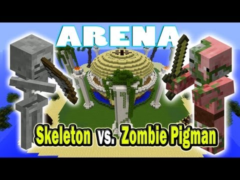 Minecraft Arena Battle Skeleton vs  Zombie Pigman